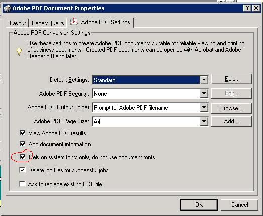 Adobe PDF setting: Use system fonts